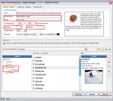 Joomla JCE Editor: Image Manager Settings