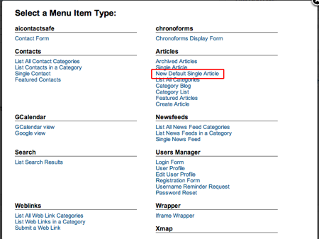 Joomla alternative menu item