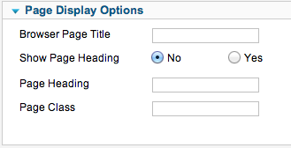 Page Display Options for Joomla Menu Items