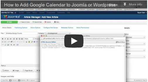 Video Tutorial Adding Google Calendar to Joomla or WordPress