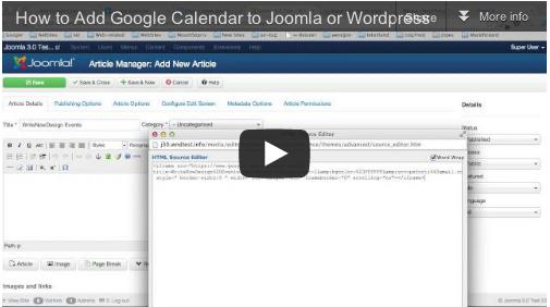 Video Tutorial Adding Google Calendar to Joomla or WordPress