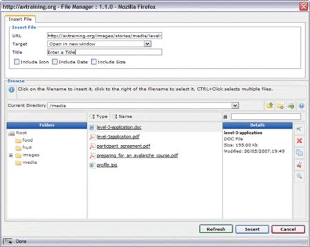 JCE Joomla Editor: File Upload Screen
