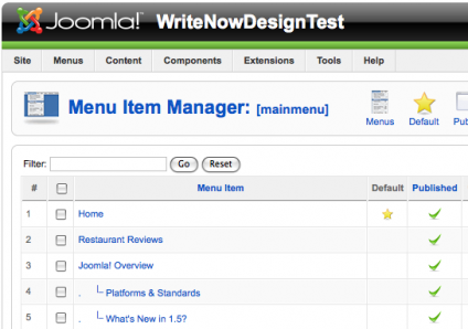 Joomla Menu Item Manager