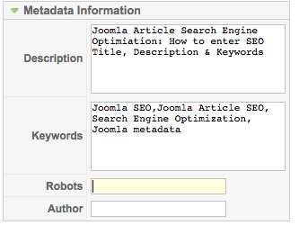 How to add Metadata to a Joomla Article