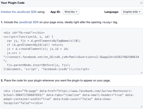 Facebook Plugin Code Screen Shot