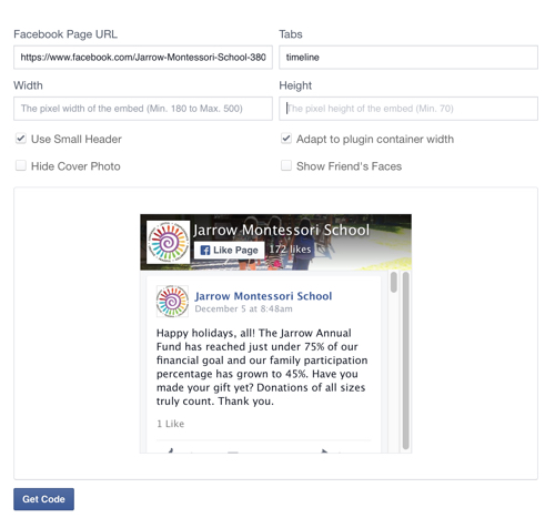 Facebook Plugin Setup Screen