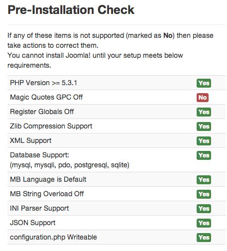 Joomla 3.0 Enviroment Check Screen