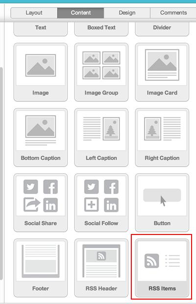 Mailchimp Content Blocks Tab