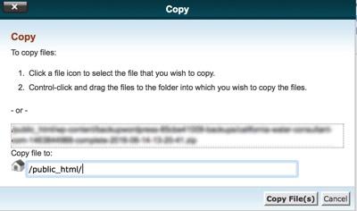 Restore WordPress from a backup: cpanel copy file screen