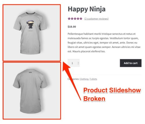 WooCommerce 3.x product slideshow broken