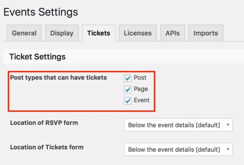Event Ticket Settings