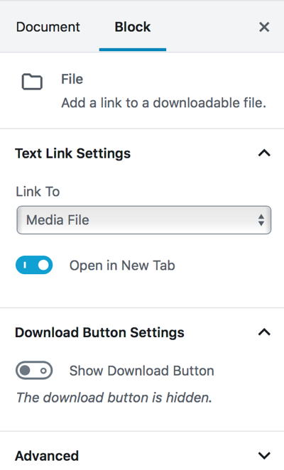 Gutenberg adjust pdf settings